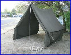 1942 WWII US ARMY TENT SMALL WALL FIRE RESISTANT 9x9x8 ft WW2 -original- VINTAGE