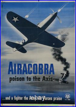 Army Air Force Poster 28x39 Inch AIRACOBRA 1942 WWII Fighter RECRUITMENT POSTER