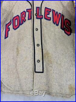 Fort Lewis US Army Vintage 40s Baseball Jersey Mascot Wilson WWII Size 38
