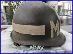 HELMET M1 + M1 LINER WW 2 MP U. S. Army