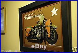 Harley Davidson WLA 1942 WWII Army Motorcycle Collectible Realistic 3D Painting