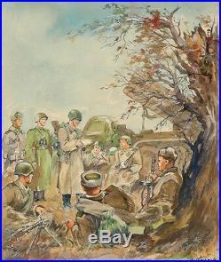 Ivan Gutorov (b. 1911) Red Army in WWII, Watercolor, 1940s