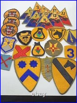 Lot Of 25 Ww2 Us Army Cavalry & Armored Division Patches Original