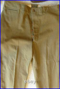 ORIGINAL VNT WWII ARMY AIR FORCE Brown WOOL JACKET 40S Khaki PANT TIE PINS PATCH