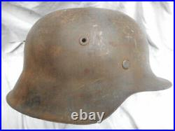 ORIGINAL WW2 GERMAN ARMY m42 STEEL COMBAT HELMET NS68 3091 former SD removed