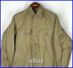 Original 1945 WWII Cotton Khaki Uniform Shirt US Army Mens 14 1/2 / 32 NOS
