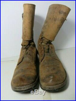 Original AUTHENTIC Pair WW2 WWII US Army Combat Boots Double Buckle sz9 named