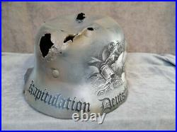 Original Damaged Germany Army WW2 M-40 Helmet, Restored, Varnished + Art on it