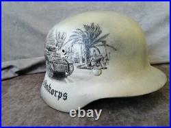 Original Germany Army WW2 M-40 Helmet, Restored, Varnished + Rommel Art on it