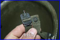 Original Late WW2/Korean War Front Seam U. S. Army M1 Helmet withPara Straps