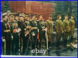 Original Propaganda Poster Soviet Army WWII Victory Parade USSR Stalin Lenin