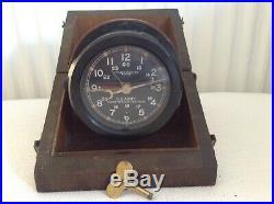 Original Rare U. S WWII Era Army Chelsea M1 Message Centre Clock With Case & Key