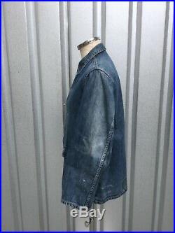 Original US Army WW2 Denim Jacket Dungaree Vtg 1940s Denim Chore Jacket Sz 38