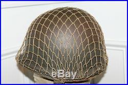 Original Untouched WW2 U. S. Army Front Seam M1 Helmet withChinstraps, Net & Liner