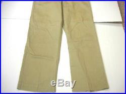 Original Vintage 1945 WWII US Army Khaki Cotton Trousers Pants Sz 31x33