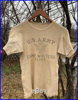Original Vintage 40s WWII U. S. Army Camp Wolters Texas White Undershirt T-Shirt