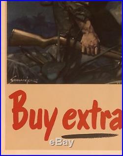 Original Vintage Poster BACK YOUR INFANTRY BUY BONDS WWII USA Army War LINEN