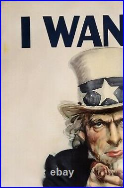 Original Vintage Poster I WANT YOU FOR THE U. S. ARMY USA WWII Uncle Sam FLAGG OL