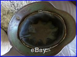 Original WW2 German Army Double decal m35 Helmet battle damage Normandy find