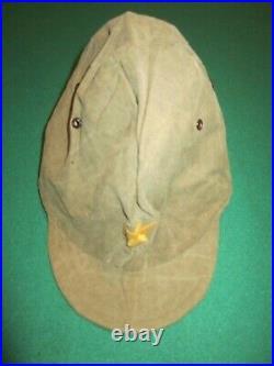 Original WW2 IJA Japanese Army Officer Canvas Visor Cap Insignia Uniform Hat VG+