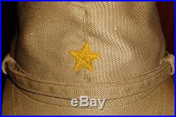 Original WW2 IJA Japanese Army Officer Tropical Visor Cap Insignia Uniform Hat