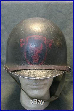 Original WW2 U. S. Army 34th Infantry Div. 109th Med. Painted M1 Helmet Set, Named
