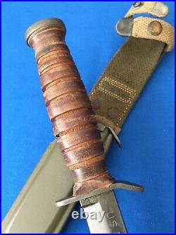 Original WWII 2 Imperial US M3 Trench Fighting Knife M8 scabbard Army Military