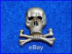 Original WWII German Army Braunschweiger Totenkopf (Skull) Officer Cap Insignia