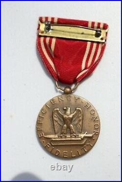 Original WWII U. S. ARMY GOOD CONDUCT MEDAL & RIBBON, named