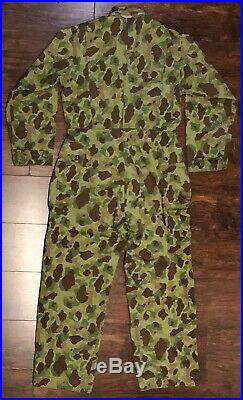 Original WWII US Army HBT Camouflage Coveralls, 38R