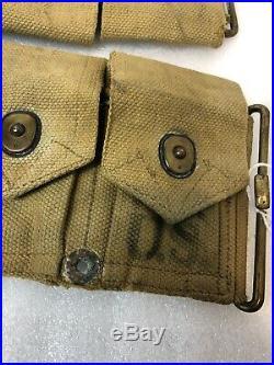 Original Ww1 Ww2 Us Army 10 Pouch Ammunition Belt