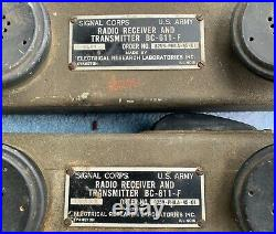 Pair WWII Signal Corps US Army Radio Receiver Transmitter BC-611-F Walkie Talkie
