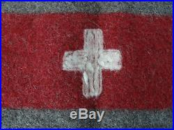 Perfect ORIGINAL SWISS ARMY Military Blanket WOOL THROW WW2 WK2 1938 TOP