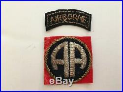 Pk31 Original WW2 US Army 82nd Airborne Division Patch Set Bullion/Wool WC10