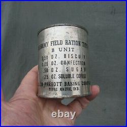 Pre World War 2 U S Army C Ration, B Unit 7-41 Dated Nice Markings & W The Key