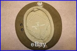 Rare Original WW2 Polish Army Soldier's British Issued Wool Beret withBadge, 45 d