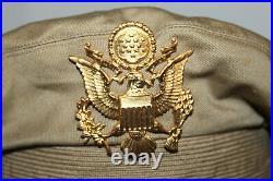 Rare Original WW2 U. S. Army Air Forces Real Crusher Khaki Visor Cap withShort Bill