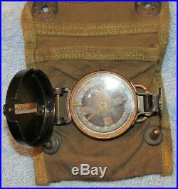 Rare Original WW2 US ARMY Compass and carrying case Paratrooper