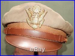 US Army AAF WW2 PILOT BANCROFT TAN TROPICAL WORSTED WOOL 50 MISSION CRUSH CAP