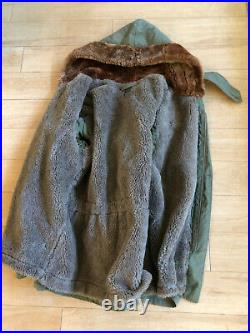 US Army Air Force Military Winter Coat from Alutian Islands WWII WW2 Original