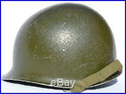 Us Army Wwii M-1 Helmet Front Seam U. S. Ww2 Combat Steel Pot Original