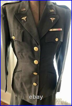 VINTAGE 1943 WW2 ARMY NURSE UNIFORM JACKET & SKIRT With