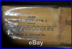 VTG Orig WWII US Army Military Barber Kit Box and Supplies Razors Clippers Soap