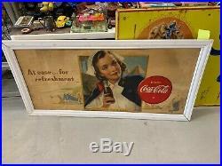 Very RARE Coca-Cola WWII US Army NURSE Corps Cardboard Sign GAS OIL SODA