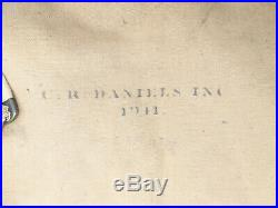 Vintage 1935 WWII WW2 CR Daniels Tan Canvas US Army Bedding Roll w Soldiers Name
