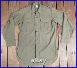 Vintage 1940s British Army Wool Uniform Shirt Military WWII era OD Green England