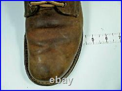 Vintage 40s WW2 Buckle Boots WWII Military Army Brown Leather Field Combat Mens