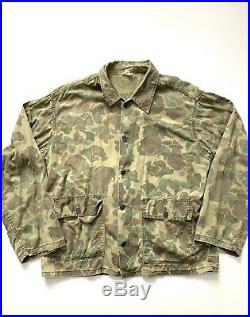 Vintage 40s WWII Frogskin 13 Star Button Camo Military US Army WW2 Shirt Jacket