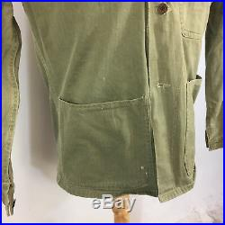 Vintage 40s WWII HBT Herringbone Work Army Military Button USMC Stencil Jacket