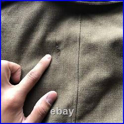 Vintage 40s WWII US ARMY MILITARY IKE O. D. Wool Field Jacket. Size 36 R Cropped